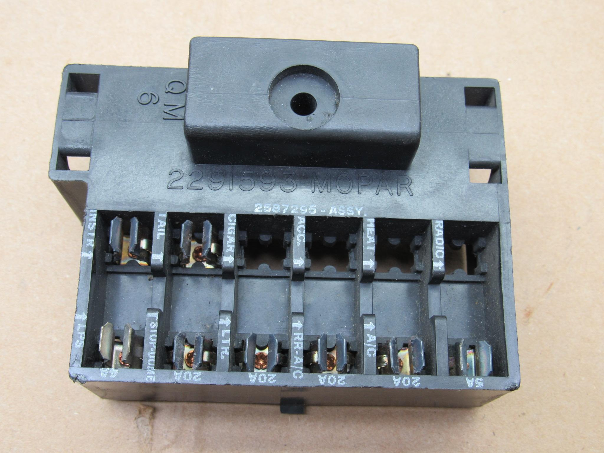 fuse block pkg# 2586760 - dodge - plymouth - a - b - c - body - 1966-69 -  nos - ships free to lower 48 - blue star performance  blue star performance